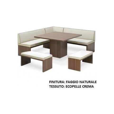 Casa ABC Panca Mod. Roma Angolare Con Tavolo E Due Panchette Finitura Faggio Naturale