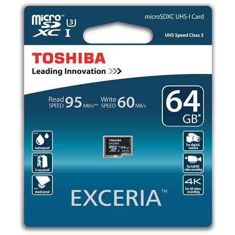 Exceria, 64GB, MicroSDXC, -25 - 85 °C, -40 - 85 °C, Class 3, Resistente all'acqua, A prova...