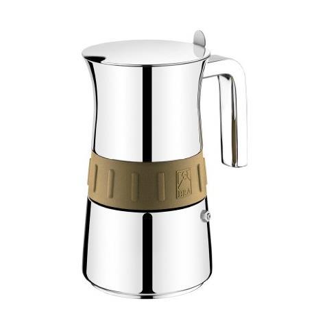 Caffettiera In Acciaio Inox Con Bordo Oro Per Induzione - Capacità 6 Tazze