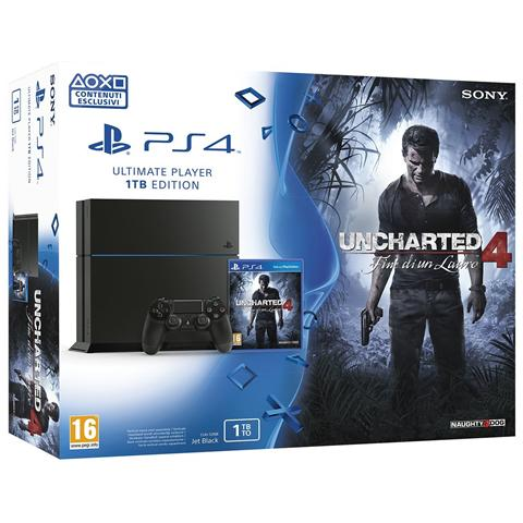 SONY Console Playstation 4 Black 1 Tb + Gioco Uncharted 4 Limited Bundle