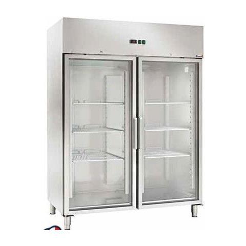 Armadio Refrigerato Ventilato Gn2/1 Acciaio Inox -2 / +8°c Doppia Porta A Vetri