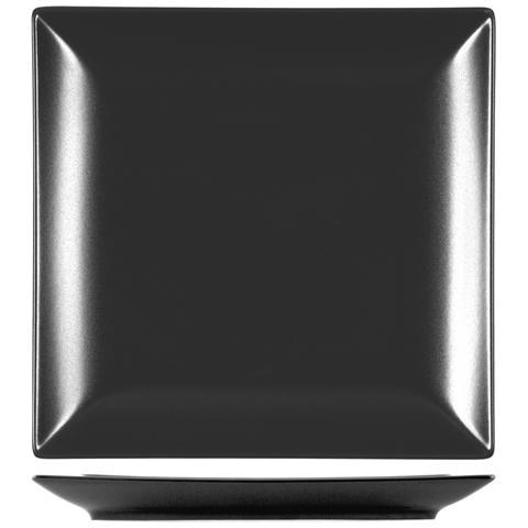H&H Piatto Stoneware Boston Nero Piano 24x24 Stoviglie