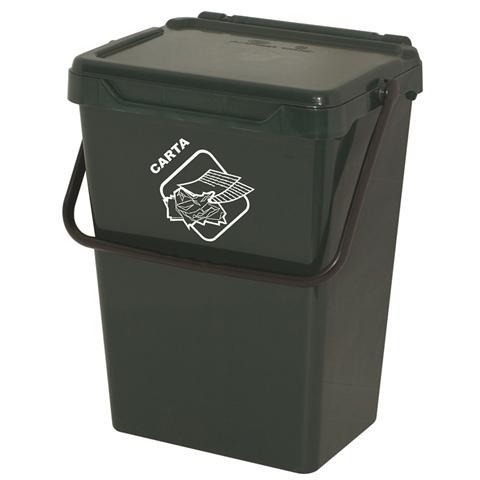 Bidone Biosystem 35 Lt, Coperchio Autobloccante, Riciclabile Verde