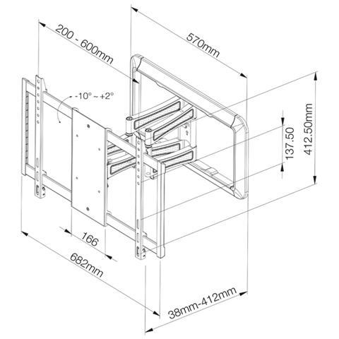VIVANCO WTL 6, 600 x 400 mm, Titanio, 600 x 400 mm, -10 - 2°