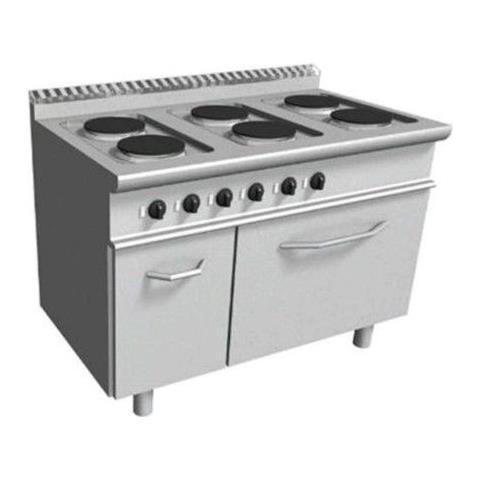 Cucina elettrica con 6 piastre tonde forno elettrico - Dim. cm. 120x70x85h
