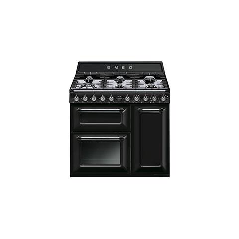 Cucina Elettrica TR93BL 6 Fuochi a Gas Forno Elettrico Colore Nero