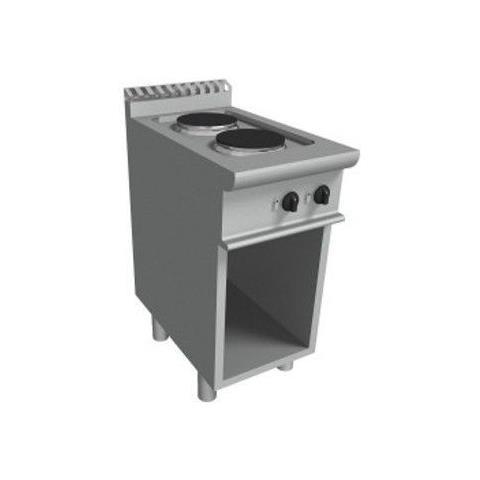 Cucina elettrica con 2 piastre tonde vano a giorno - Dim. cm. 40x70x85h