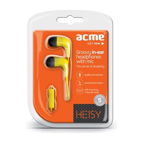 ACME HE15Y Groovy Stereofonico Auricolare Giallo cuffia e auricolare