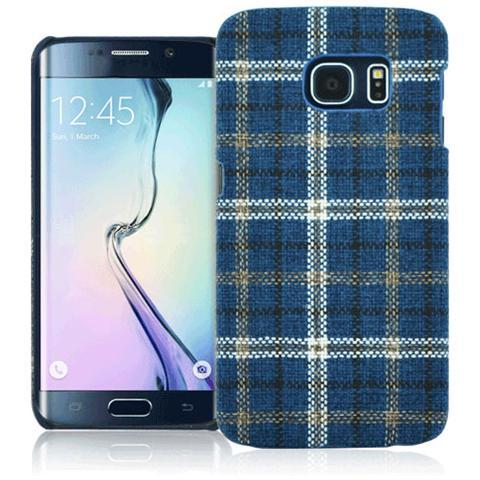 FONEX Tartan Cover Rigida in Tessuto con Texture Scozzese per Galaxy S6 Edge Colore Blu