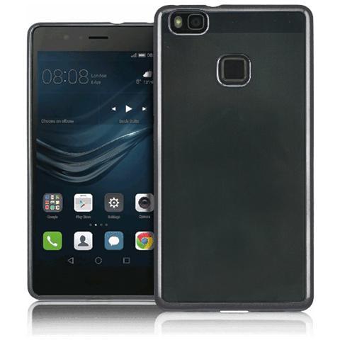 FONEX Sparkling Cover in Morbido TPU con Bordi ad Effetto Metalizzato per Huawei P9 Lite Colore Trasparente / Nero