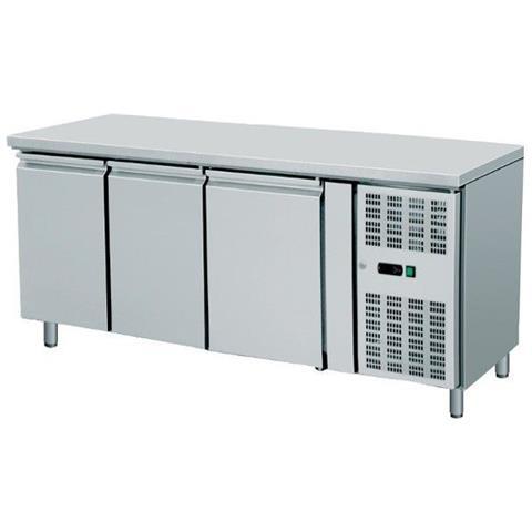 Tavolo Frigo Refrigerazione Ventilato Snack 3 Sportelli Motore Acciaio Inox Temp -2 / +8 Dim. cm 179.5x60x86h