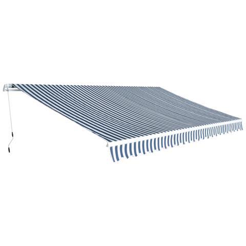 Tenda Da Sole Pieghevole Manualmente 5x3 M Blu E Bianca