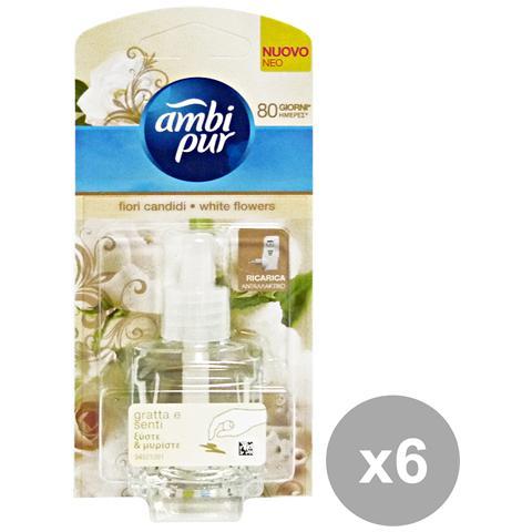 Ambi-Pur Set 6 Casa Ricarica Fiori Bianchi 20 Ml. Deodorante Candele E Profumato