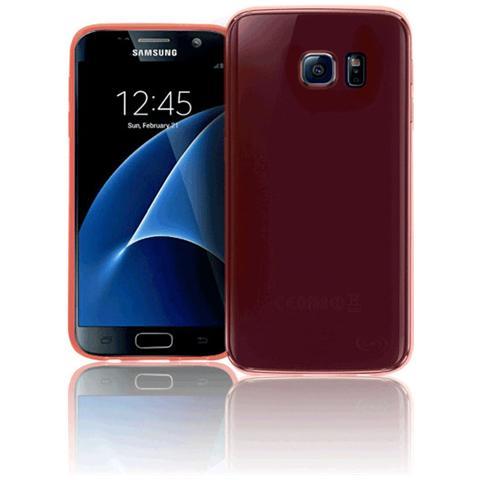 FONEX Inv Cover Ultra Sottile 0,2 mm in Morbido TPU per Galaxy S7 Colore Rosso Trasparente