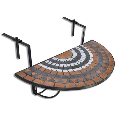 Tavolo Mosaico Semicircolare In Terracotta Bianca