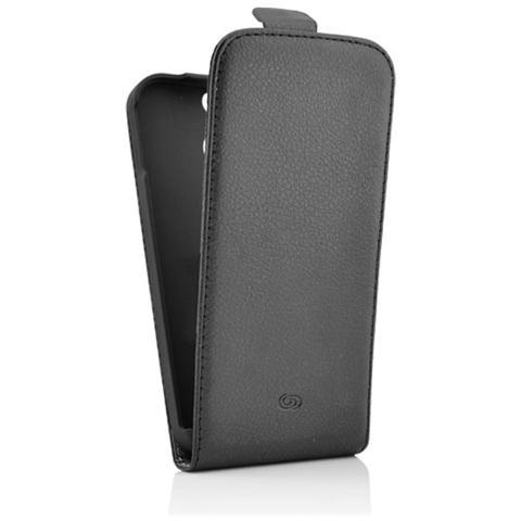 FONEX Classic Flip Custodia a Flip in Ecopelle per Microsoft Lumia 630/635 Colore Nero (635 Solo Black e White)