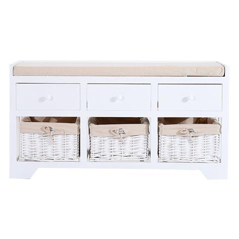 HomCom Panca Portaoggetti In Legno Con Cassetti E Ceste In Vimini, Bianco, 98x34x52cm