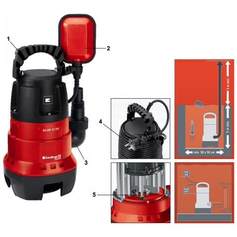 Elettropompa Pompa Ad Immersione Einhell Gh Dp 3730 Per Acque Scure 370 Watt