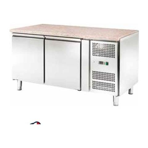 Tavolo Frigo Refrigerato Ventilato Pasticceria 2 Sportelli Motore Acciaio Inox Temp -2 / +8