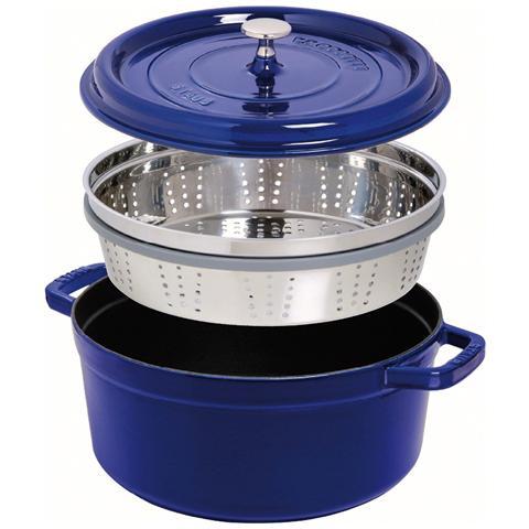 Pentola Rotonda in Ghisa con Cestello Diametro 26 cm Capacità 5 lt Colore Blu - Linea La Cocotte