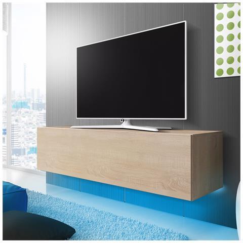Image of Lana - Mobiletto Porta Tv Sospeso A Parete / Supporto Tv Sospeso (160 Cm, Quercia Sonoma Con Luci Led Blu)
