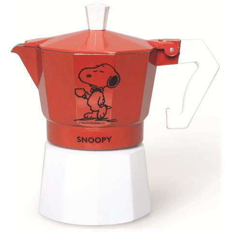 Caffettiera Peanuts Snoopy 3 tazze rosso.