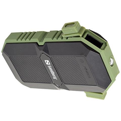 SANDBERG Waterproof Powerbank 6000, Ioni di Litio, USB, Nero, Verde, Smartphone, Micro-USB
