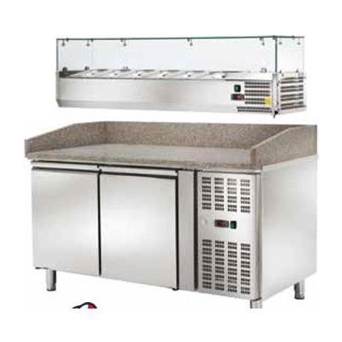 Banco Pizza Refrigerato Ventilato Con Vetrinetta 2 Sportelli -2 / +8 °c