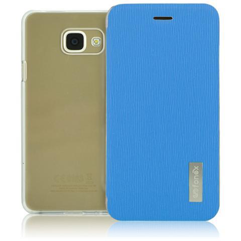 FONEX Crystal Slim Custodia a Libro con Back Trasparente per Galaxy A3 (6) Colore Azzurro
