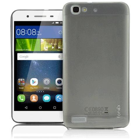 FONEX Inv Cover Ultra Sottile 0,2 mm in Morbido TPU per Huawei P8 Lite Smart Colore Nero Trasparente