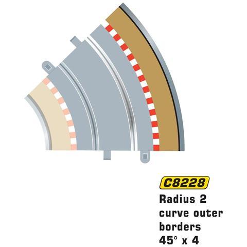 SCALEXTRIC Accessori 1:32 Bordo Esterno 45? Raggio 2 4pz C8228
