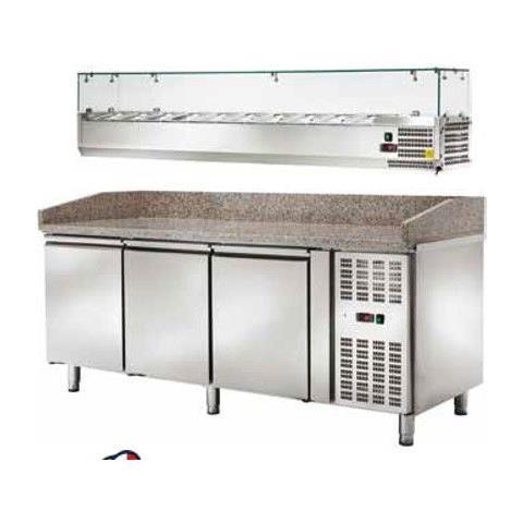 Banco Pizza Refrigerato Ventilato Con Vetrinetta 3 Sportelli -2 / +8 °c