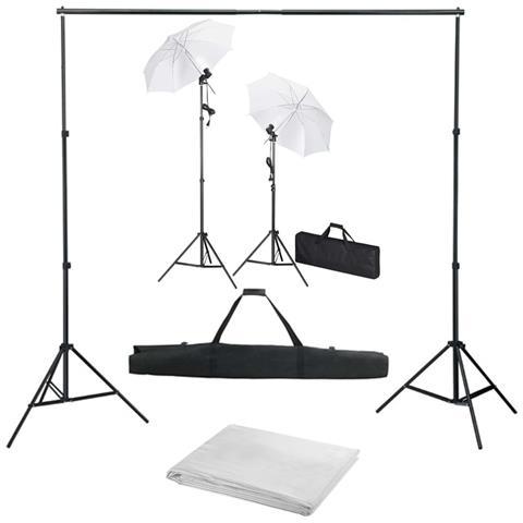 Kit Studio Fotografico Con Fondali Luci E Ombrelli