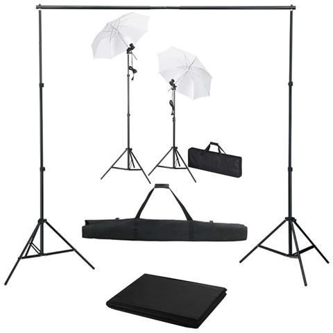 Kit Studio Fotografico Con Fondale Luci E Ombrelli