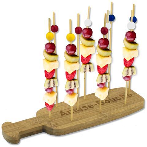 Vassoio Spiedini Tapas In Legno Bamboo Set 10 Spiedi Per Aperitivo Finger Food