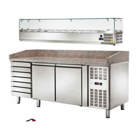 Banco Pizza Refrigerato Ventilato Con Vetrinetta 2 Sportelli E Cassettiera -2 / +8 °c