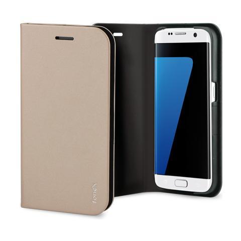 FONEX Shine Book Custodia a Libro per Galaxy S7 Edge Colore Oro