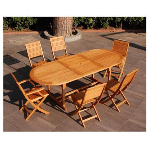 Tavolo da pranzo allungabile ovale in legno di Eucalypto con prolunga