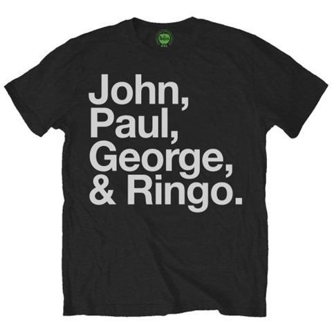 ROCK OFF Beatles (The) - John, Paul, George & Ringo Black (T-Shirt Unisex Tg. M)