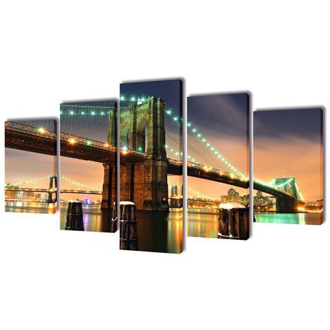 vidaXL 5 Pz Set Stampa Su Tela Da Muro Ponte Di Brooklyn 100 X 50 Cm