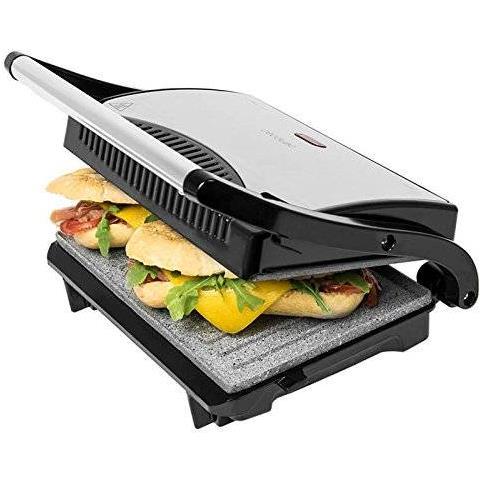 Griglia elettrica per panini, piastra / bistecchiera con rivestimento in pietra RockStone, 700W e superficie di 23x 14,5cm, con clip di chiusura e foro raccogli-cavi, mod. Rock'n'Grill 700