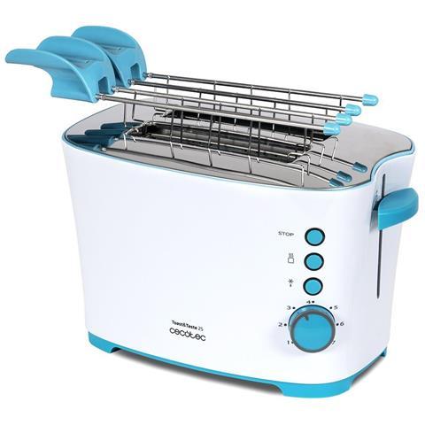 Tostapane Toast & Taste 2S con capacità per due Toast. Con Mollette. 850 W di potenza e 7 posizioni di ruggine, funzione per decongelare e funzione riscaldare. Sistema di estrazione automatica, vassoio raccoglibriciole, avvolgicavo.