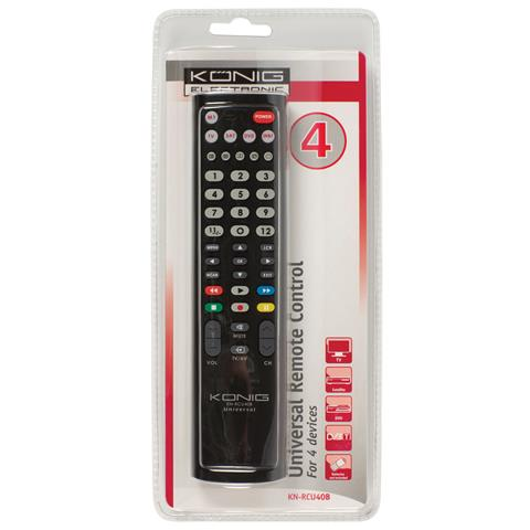 KONIG KN-RCU40B, IR Wireless, Nero, DVD / Blu-ray, TV, Pulsanti, Alcalino, AA