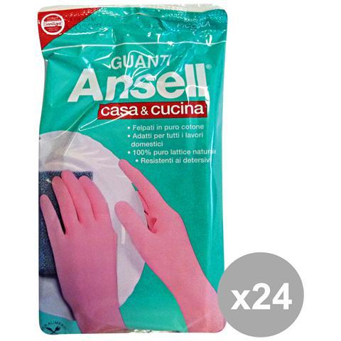 Ansell Set 24 Guanti Rosa Casa&cucina S Giardinaggio