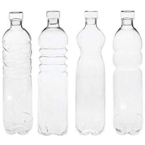 Set 4 Bottiglie In Vetro Borosilicato Si-Bottle Ø Cm. 8,5 H. 34 - Linea Estetico Quotidiano