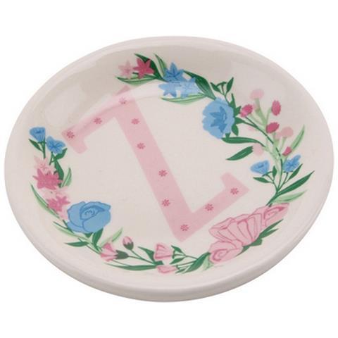 Birds And Botanics Piattino Decorativo In Ceramica Con Lettera (z) (acqua / rosa)