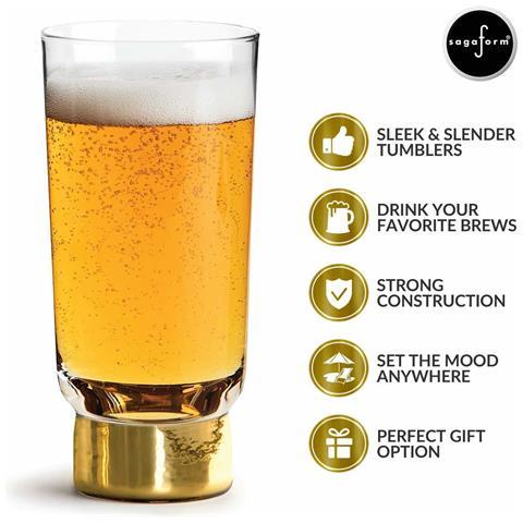 Bicchieri Birra 2pz Trasparente / oro Vetro Cl 33, Cm 7x16