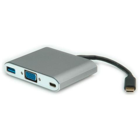 Roline 12033201, USB-C, VGA, D-Sub 15-pin, USB-A, Maschio / femmina, Argento