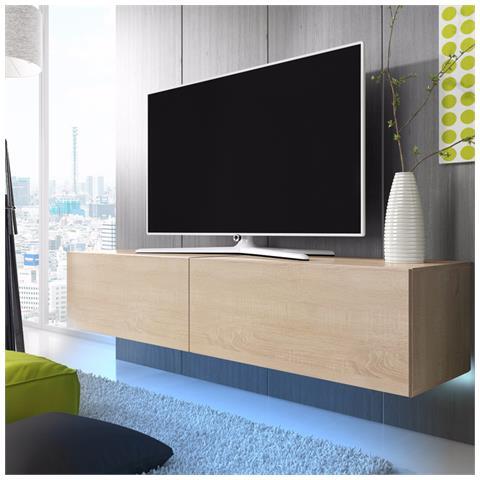 Image of Lana - Mobiletto Porta Tv Sospeso A Parete / Supporto Tv Sospeso (2 X 100 Cm, Quercia Sonoma Con Luci Led Blu)