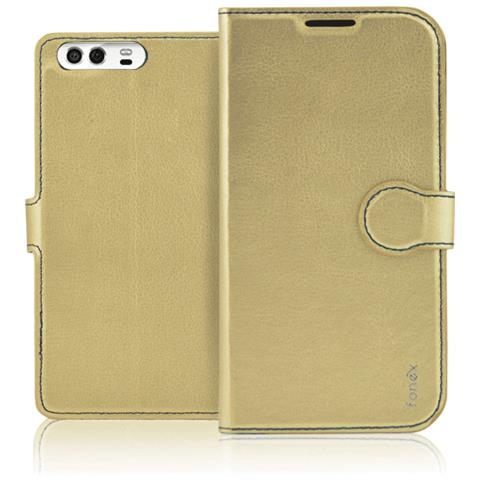 FONEX Identity Book Custodia a Libro per Huawei P10 Colore Oro